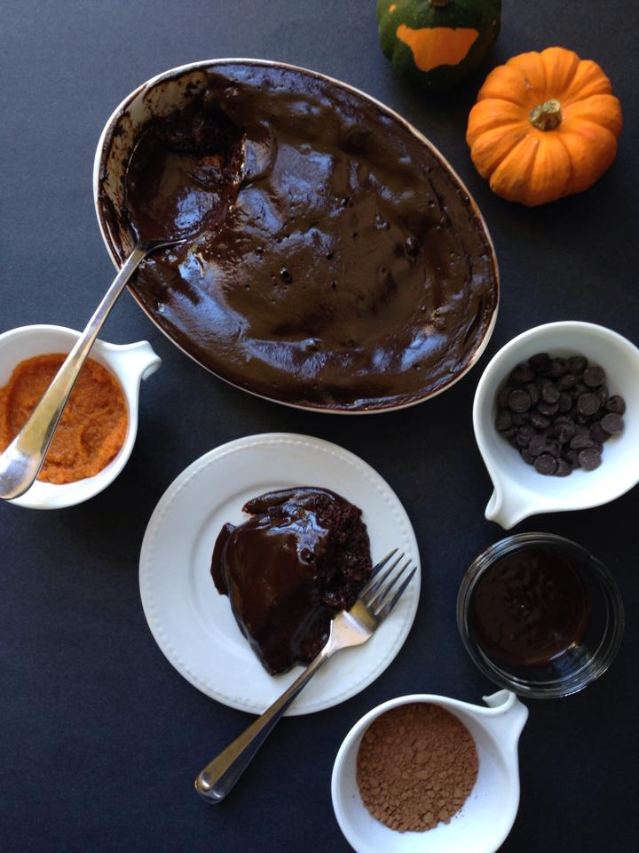 {Vegan!} Pumpkin Chocolate Pudding Cake | Whisk and Shout