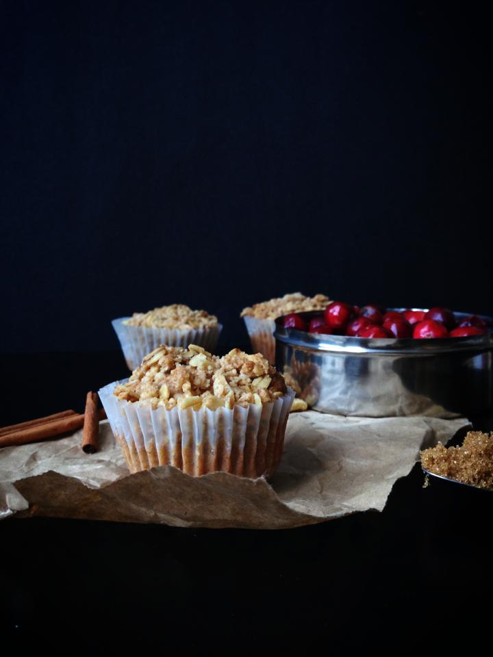 {Vegan!} Cranberry Walnut Muffins with Crumb Topping | Whisk and Shout