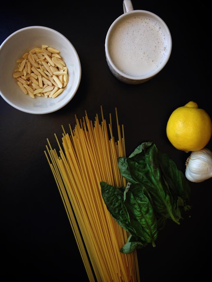 {Vegan} Spaghetti with Lemon Cream Sauce + Spinach | Whisk and Shout