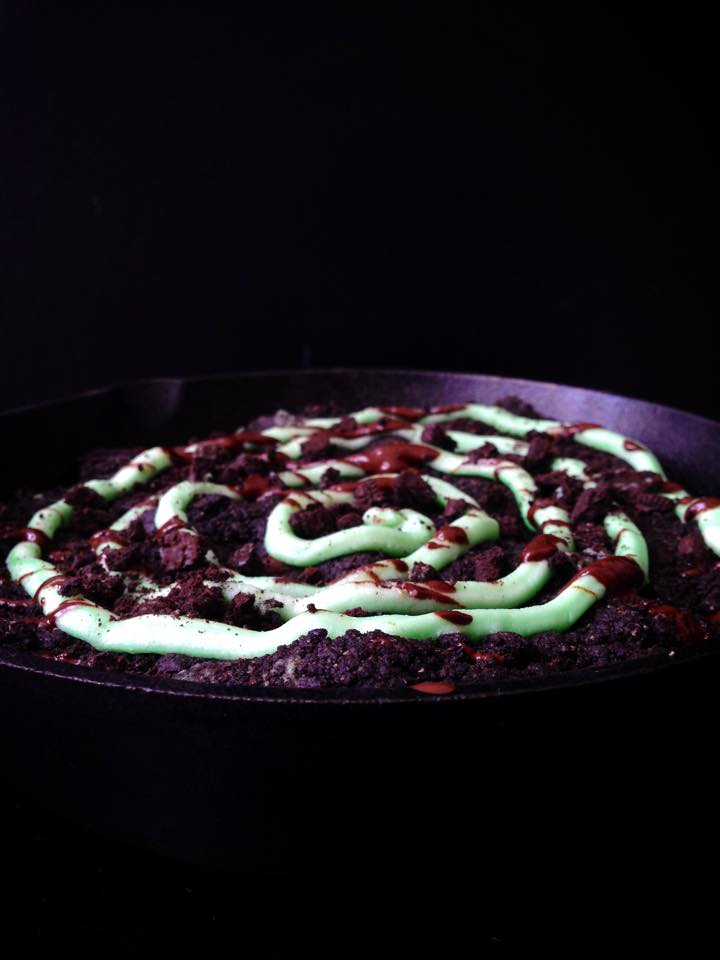 Double Chocolate Skillet Cookie with Mint Swirl! | Whisk and Shout