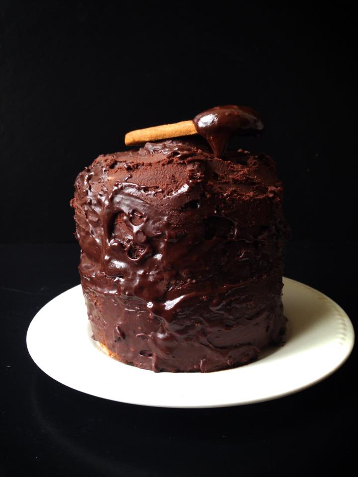 Vegan Cookie Butter Cake with Chocolate Ganache Frosting for Two! | Whisk and Shout