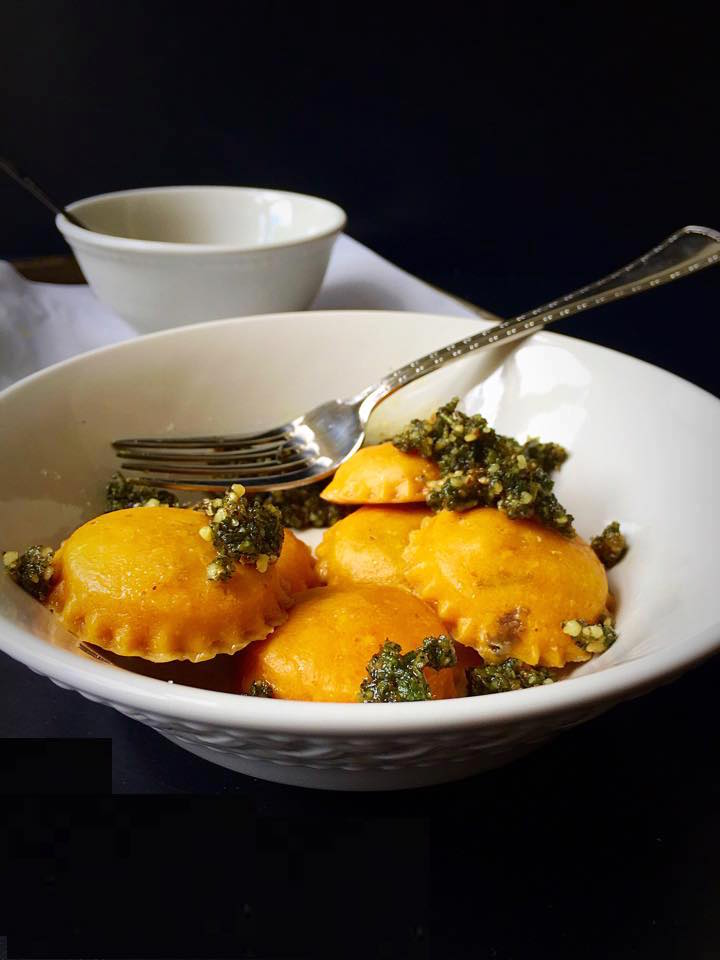 ... Portabello Pumpkin Ravioli with Sage & Walnut Pesto | Whisk and Shout