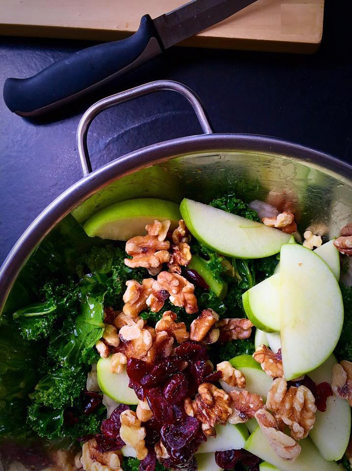 Autumn Kale Salad with Tart Green Apples, Shaved Fennel, and Balsamic | Whisk and Shout