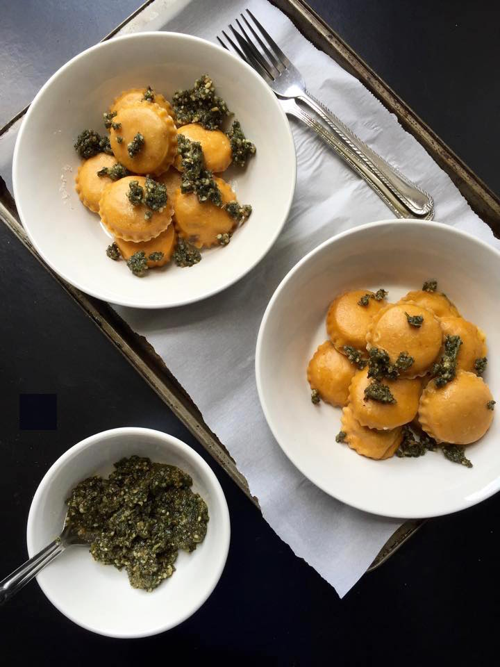 Vegan Portabello Pumpkin Ravioli with Sage & Walnut Pesto | Whisk and Shout
