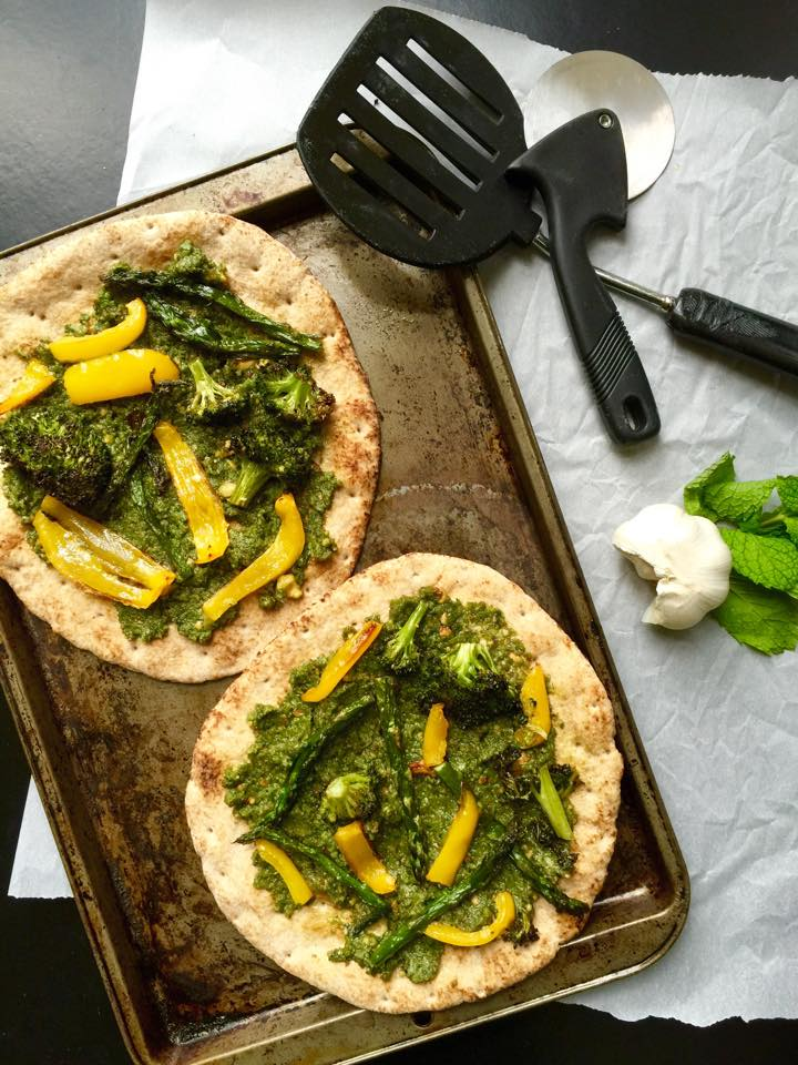 Roasted Vegetable and Pesto Flatbread Pizzas | Whisk and Shout