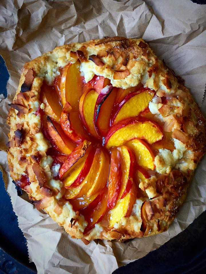 Vegan Peach Galette with Coconut Pastry | Whisk and Shout