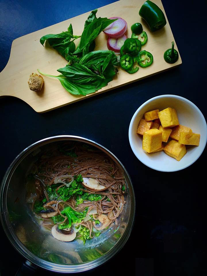 Miso Soba Noodle Soup with Jalapeños, Shallots, Basil, and Tofu | Whisk and Shout