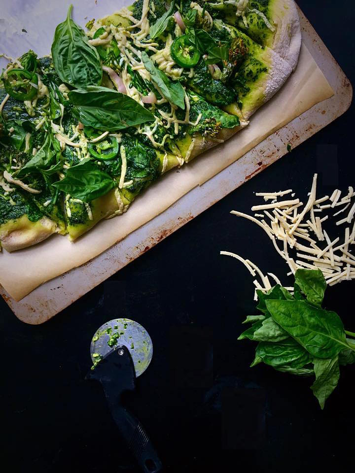 Vegan Pesto Pizza Verde | Whisk and Shout