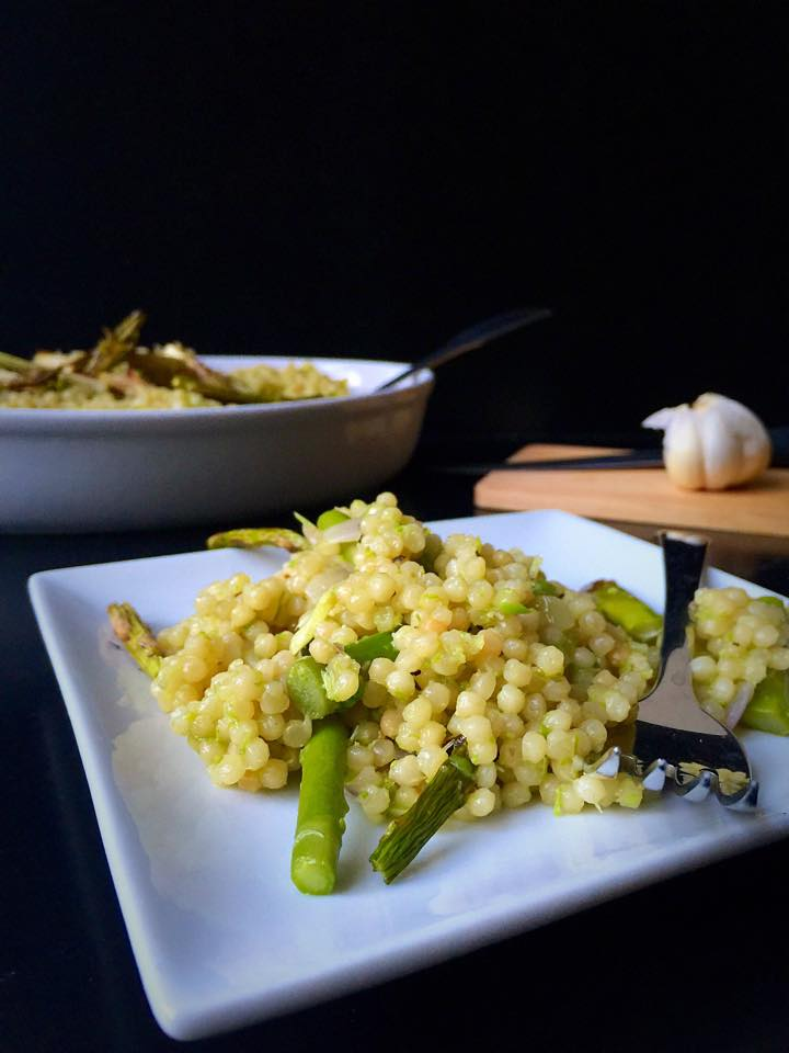 Israeli Couscous Risotto with Asparagus Three Ways | Whisk and Shout