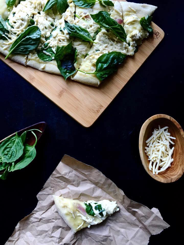 Vegan White Pizza with Spinach & Basil! | Whisk and Shout