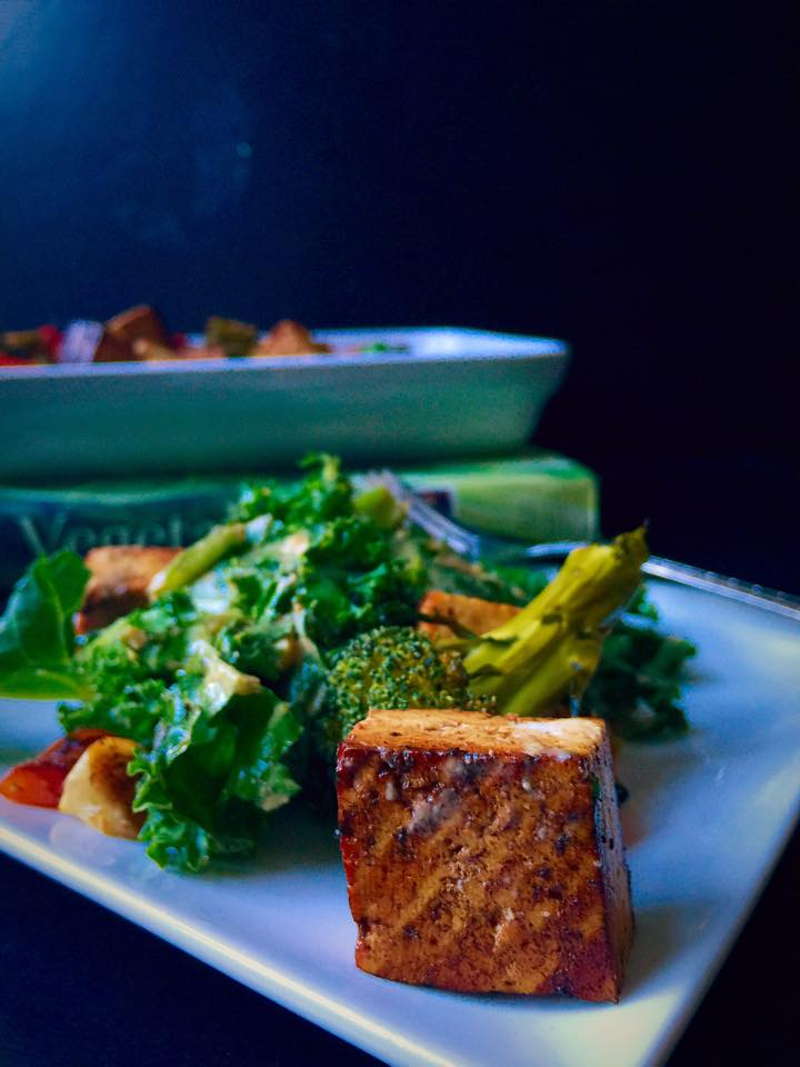Garlicky Kale Salad with Balsamic Tofu & Broccoli | Whisk and Shout