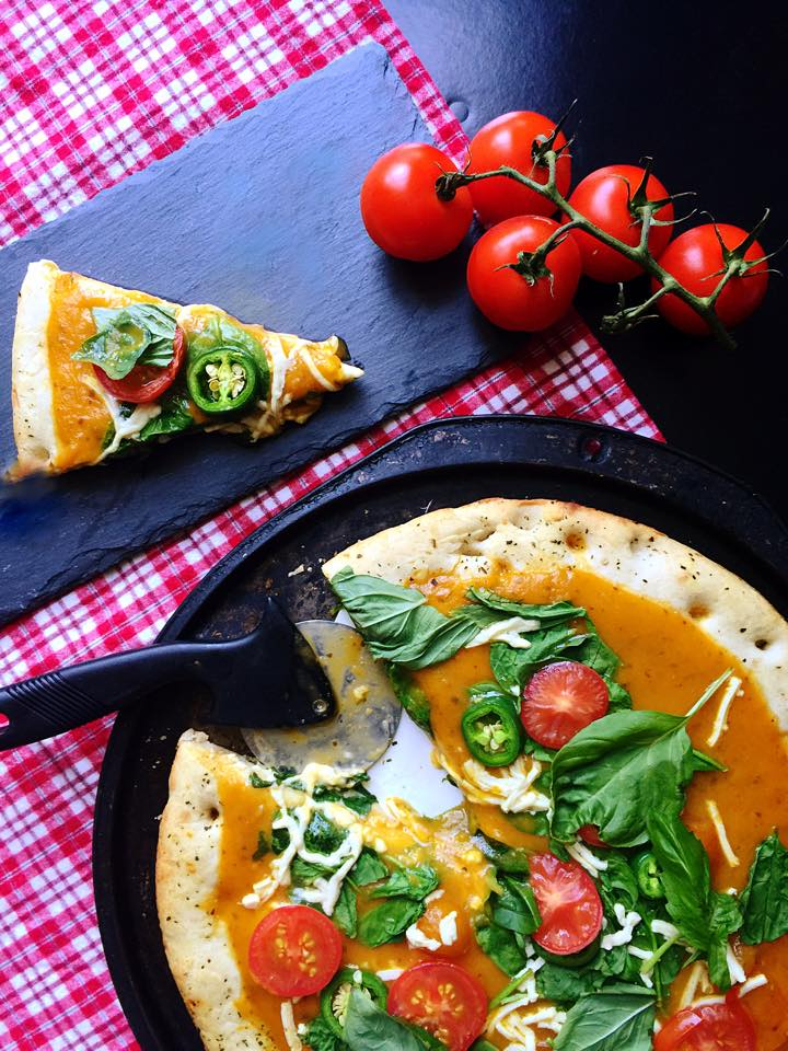 Vegan Caprese Ciabatta Pizza with Yellow Tomato Sauce | Whisk and Shout