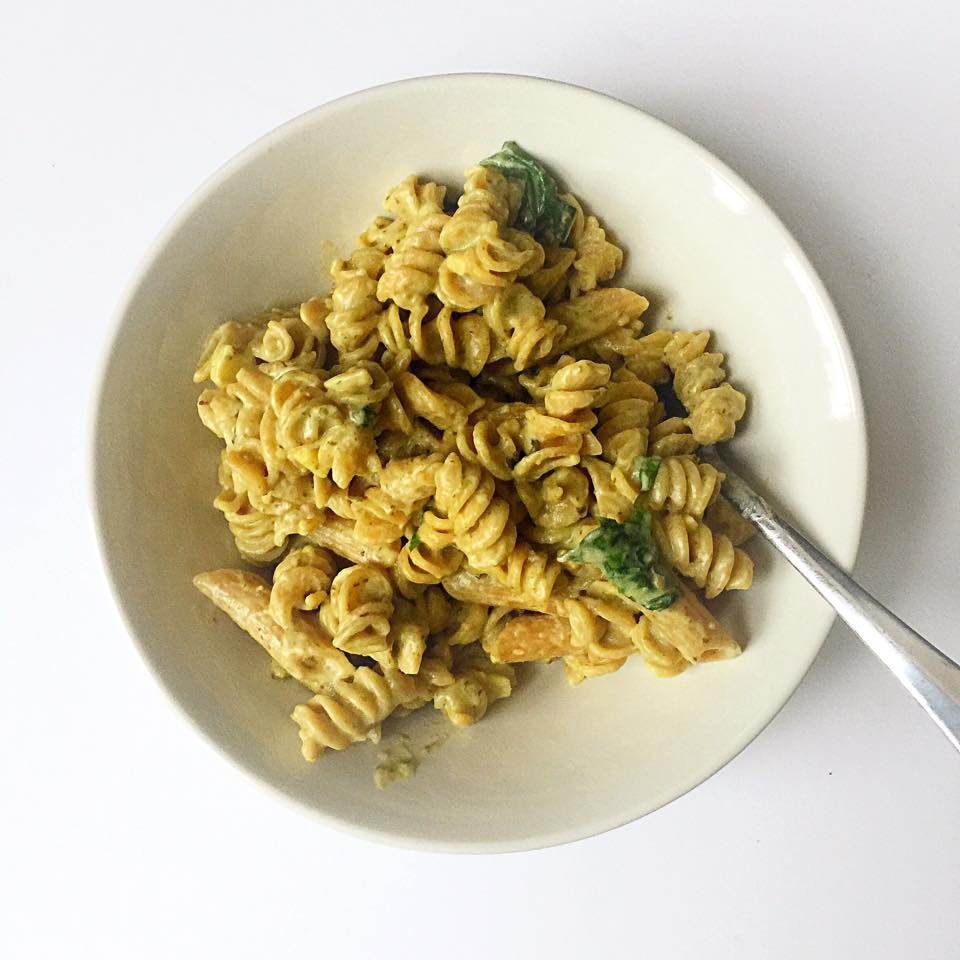 Vegan Whole Wheat Pasta with Pesto Cream Sauce | Whisk and Shout