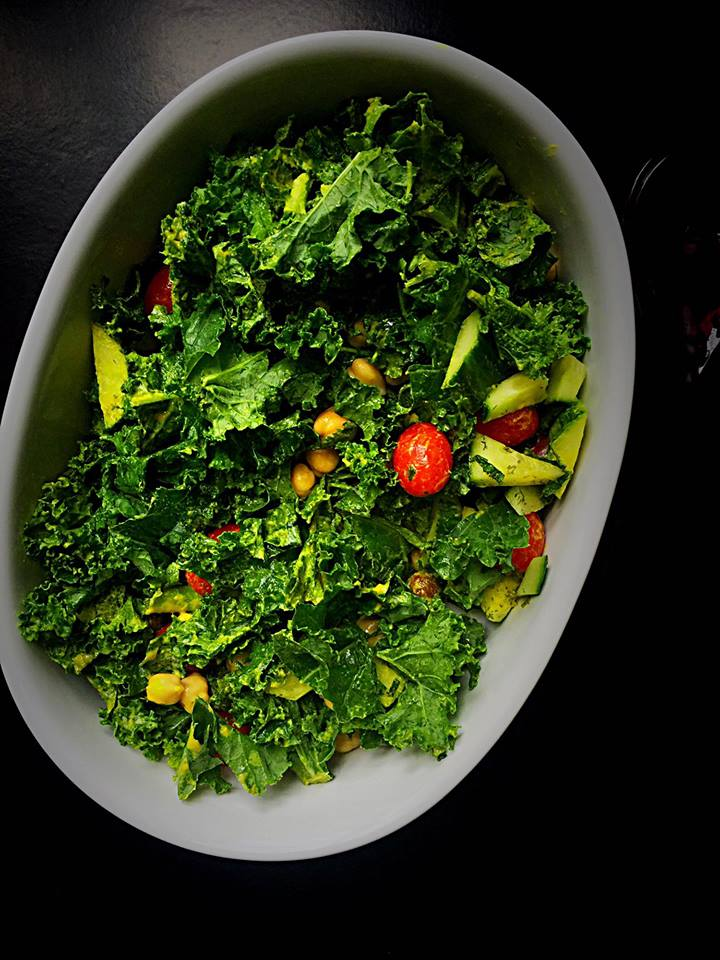 Greek Kale Salad with Tahini Turmeric Dressing! | Whisk and Shout