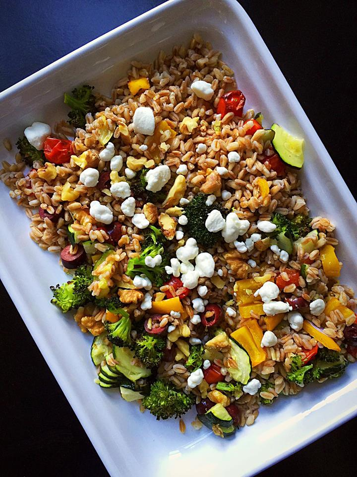 Warm Roasted Vegetable Farro Salad | Whisk and Shout