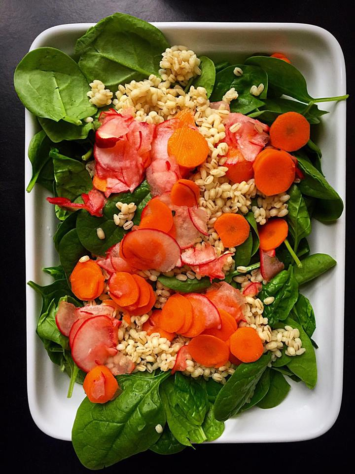 Barley Spinach Salad with Pickled Radishes and Carrots | Whisk and Shout