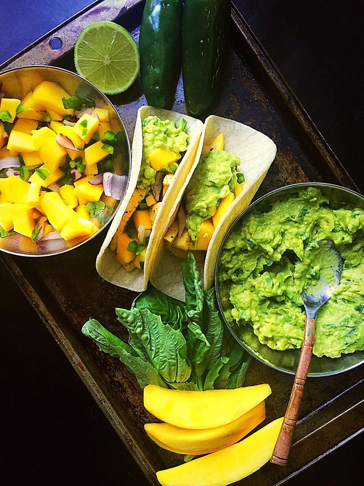 {Vegan} Mango Tofu Tacos with Spicy Guacamole | Whisk and Shout