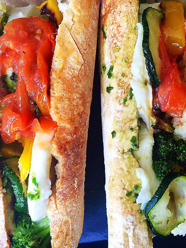 Roasted Vegetable & Pesto Baguette Melt | Whisk and Shout