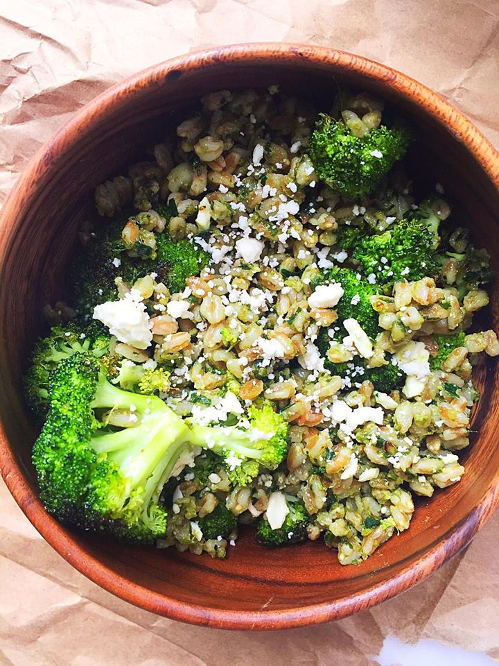 Warm Pesto Farro Bowl with Roasted Broccoli & Feta   Whisk and Shout