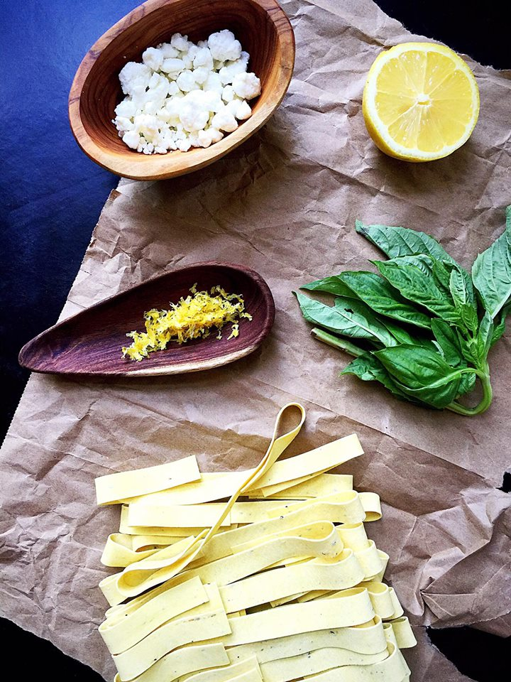 Lemon Basil Pappardelle with Goat Cheese | Whisk and Shout