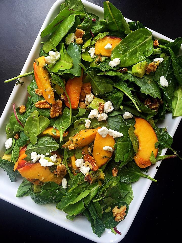 Summer Peach Salad with Pesto Dressing | Whisk and Shout