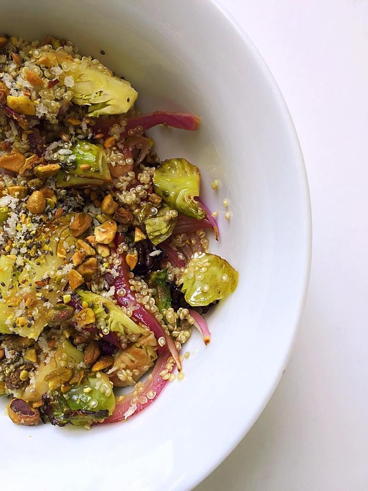 Roasted Brussels Sprouts Quinoa Salad with Pistachio Gremolata | Whisk and Shout