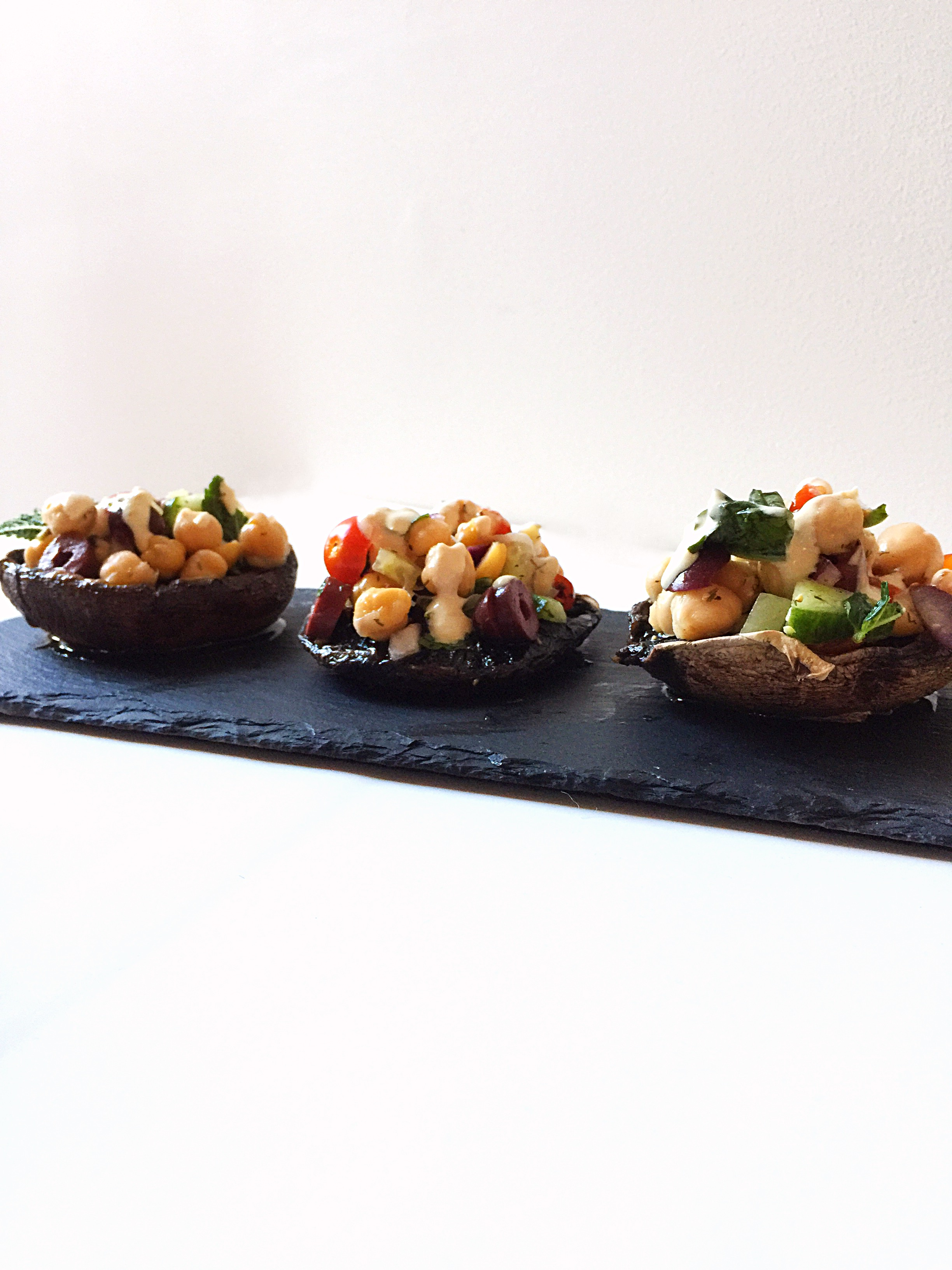 {Vegan} Mediterranean Stuffed Portobello Mushrooms | Whisk and Shout