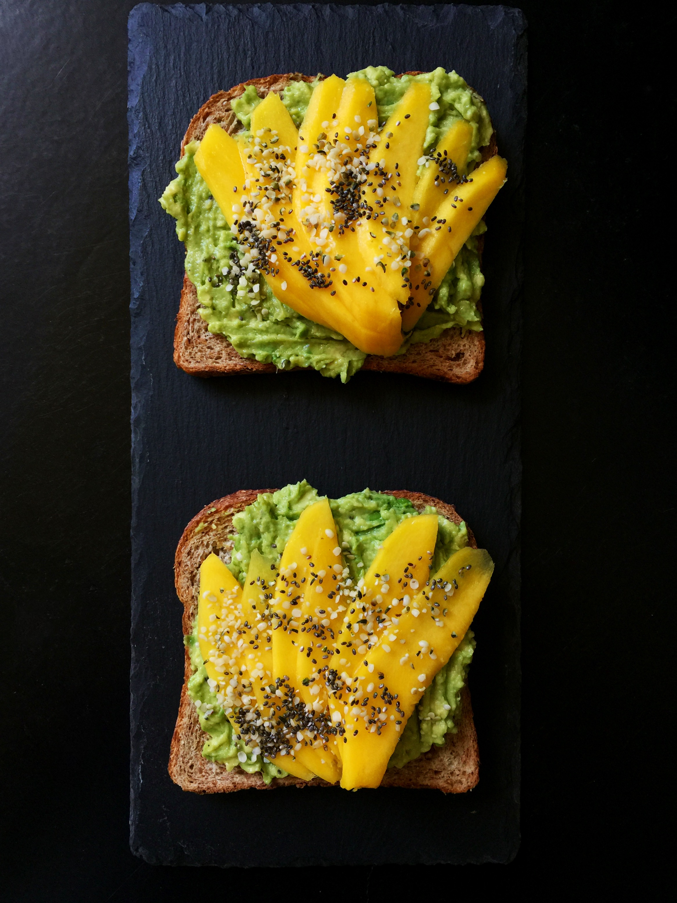 Seedy Sprouted Avocado Toast with Mango {Vegan!}