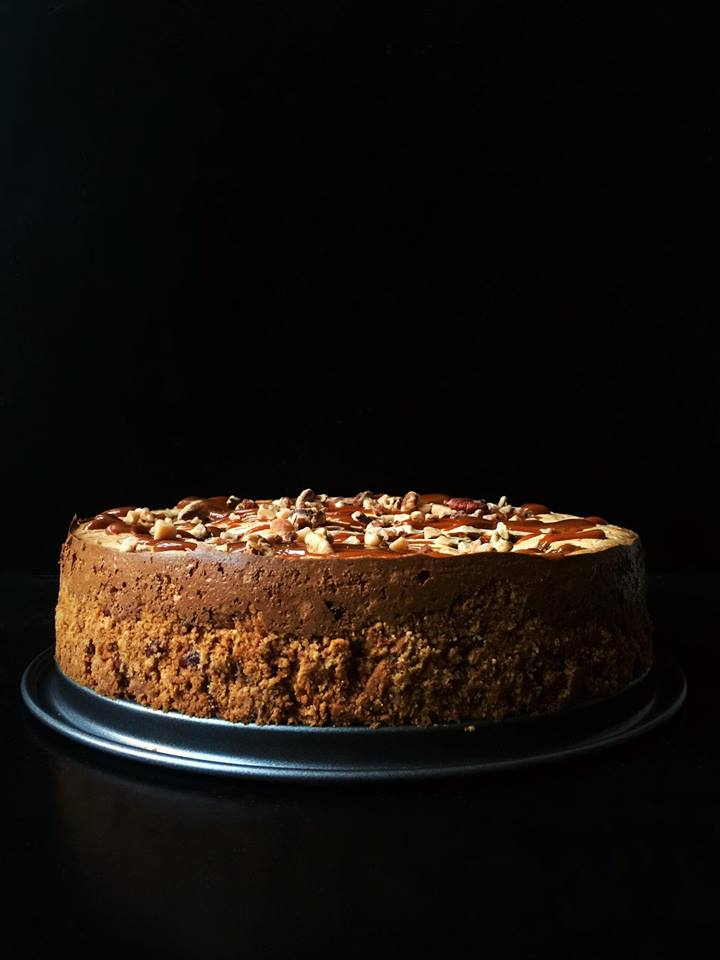 White Chocolate Toffee Pecan Cheesecake with Dulce de Leche| Whisk and Shout