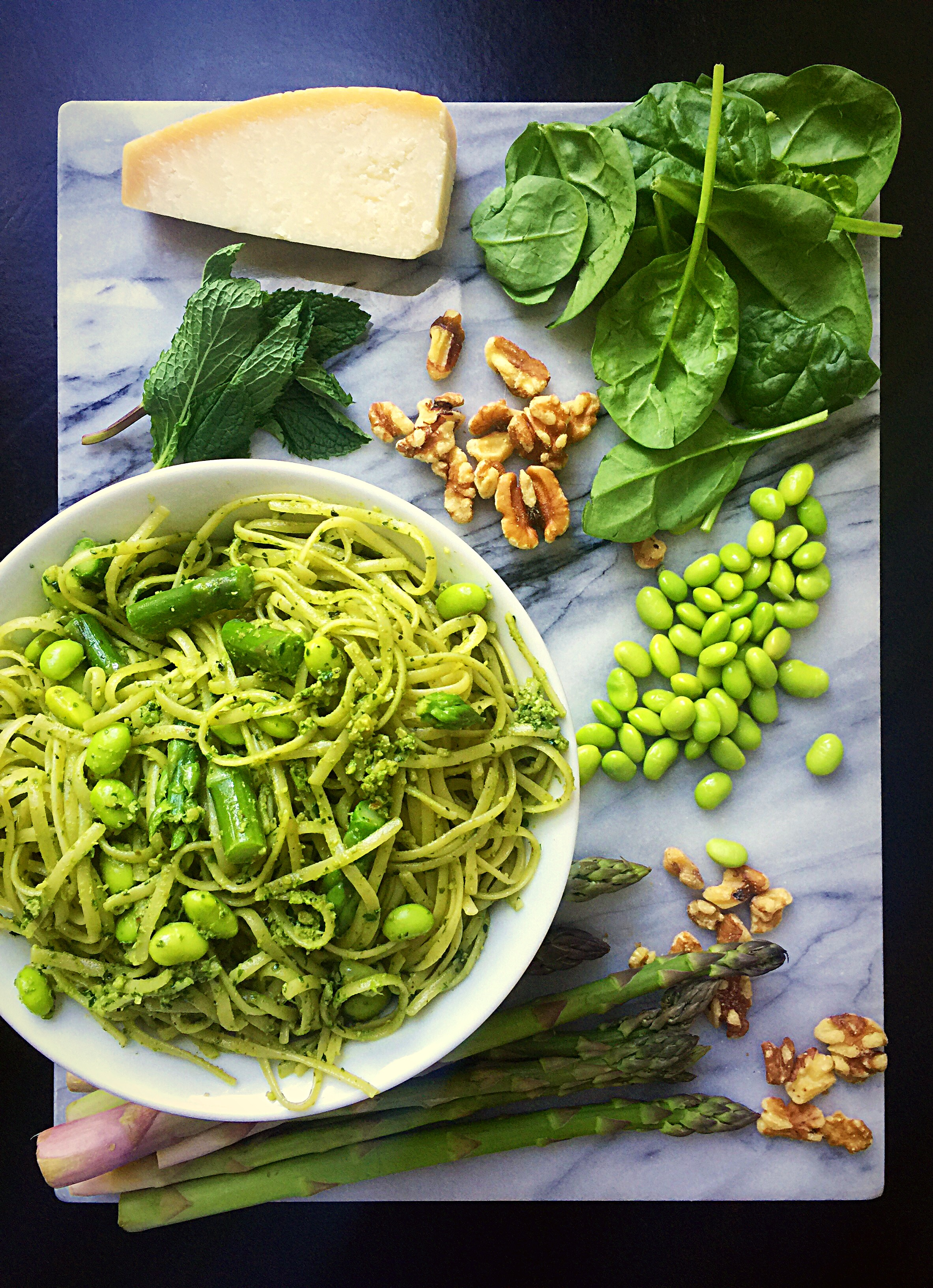 Spring Pasta with Mint Pesto, Asparagus, and Edamame! | Whisk & Shout