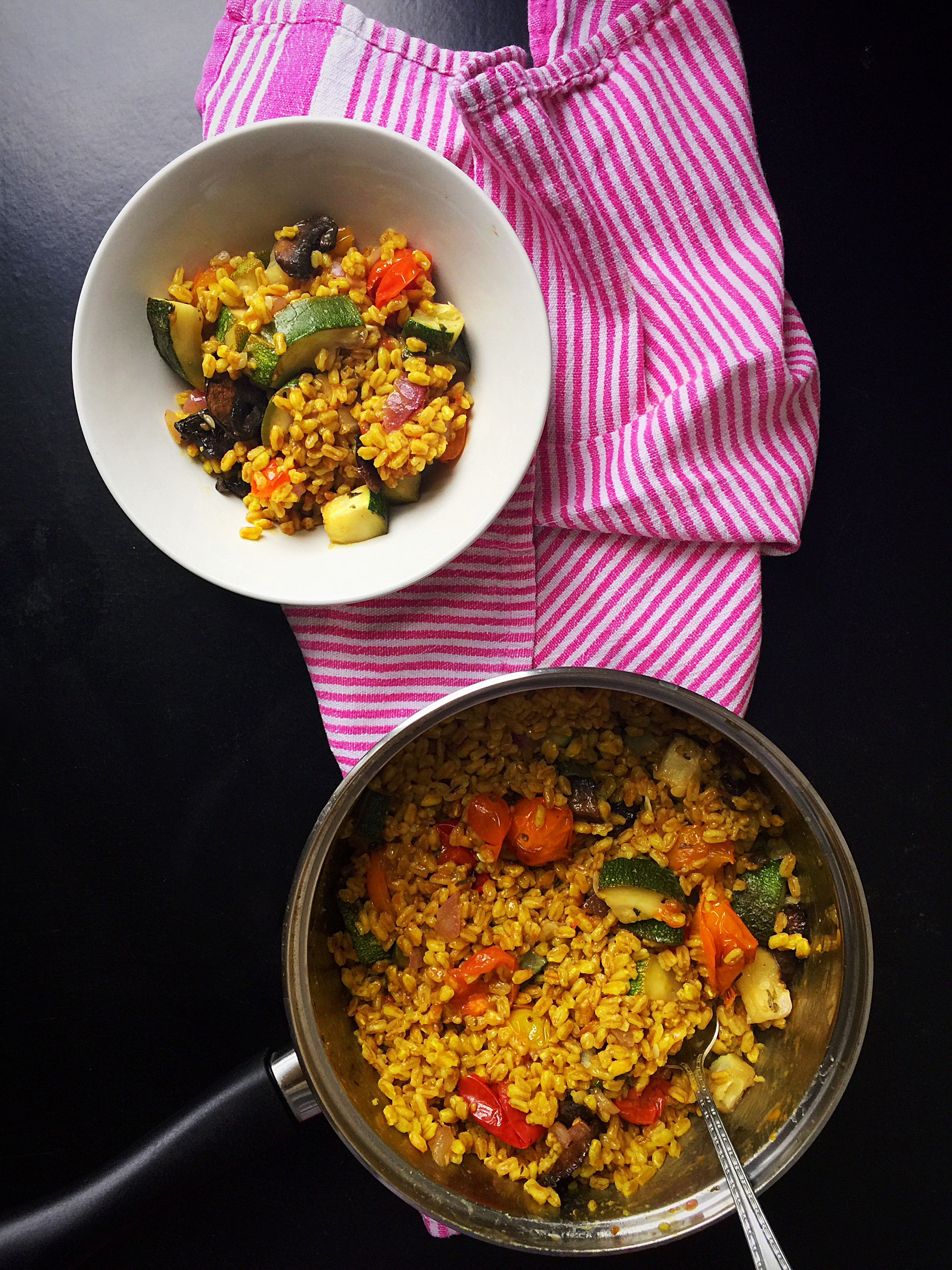 {Vegan} Farro with Roasted Summer Vegetables | Whisk and Shout