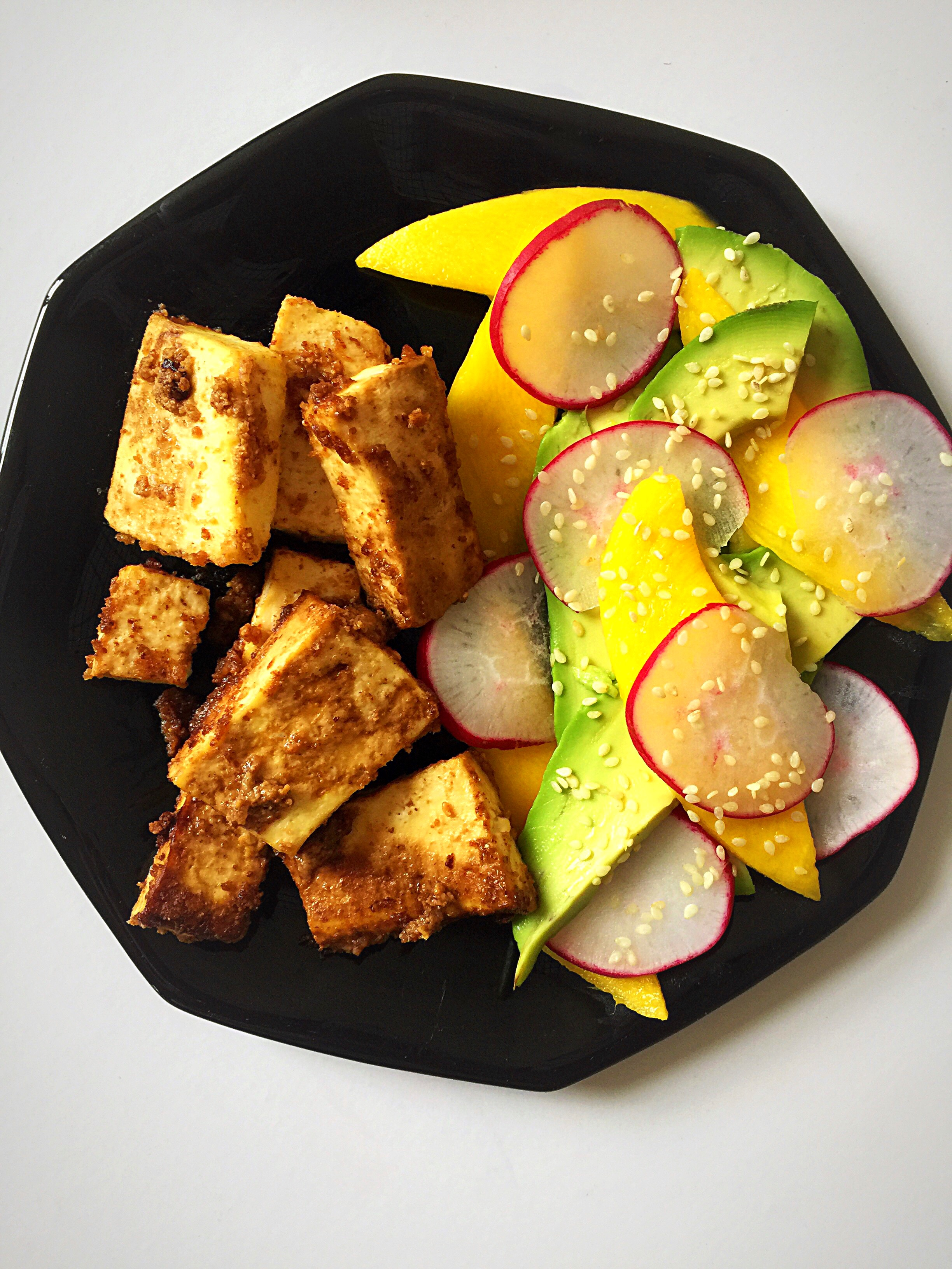 Almond Butter Roasted Tofu with Mango Avocado Salad | Whisk and Shout
